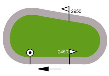 La plupart des hippodromes ne diposent pas de pistes assez longues, il est donc nécessaire de faire plusieurs fois le tour pour atteindre la distance de l'épreuve.